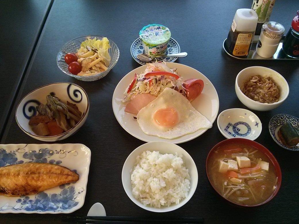 Japanisches Frühstück in der Pension Fukuda in Rikuzentakata